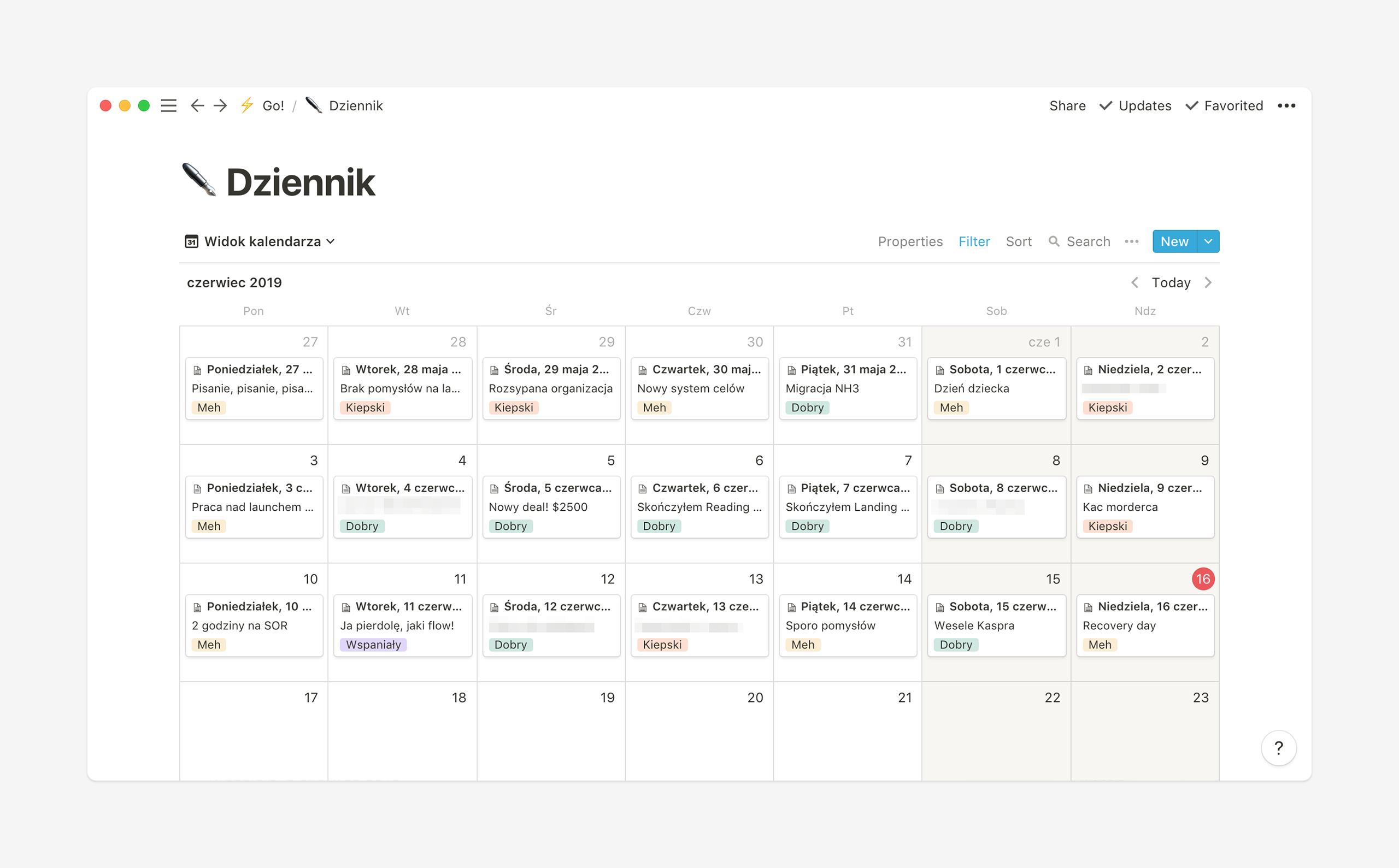 Dziennik w Notion - widok kalendarza