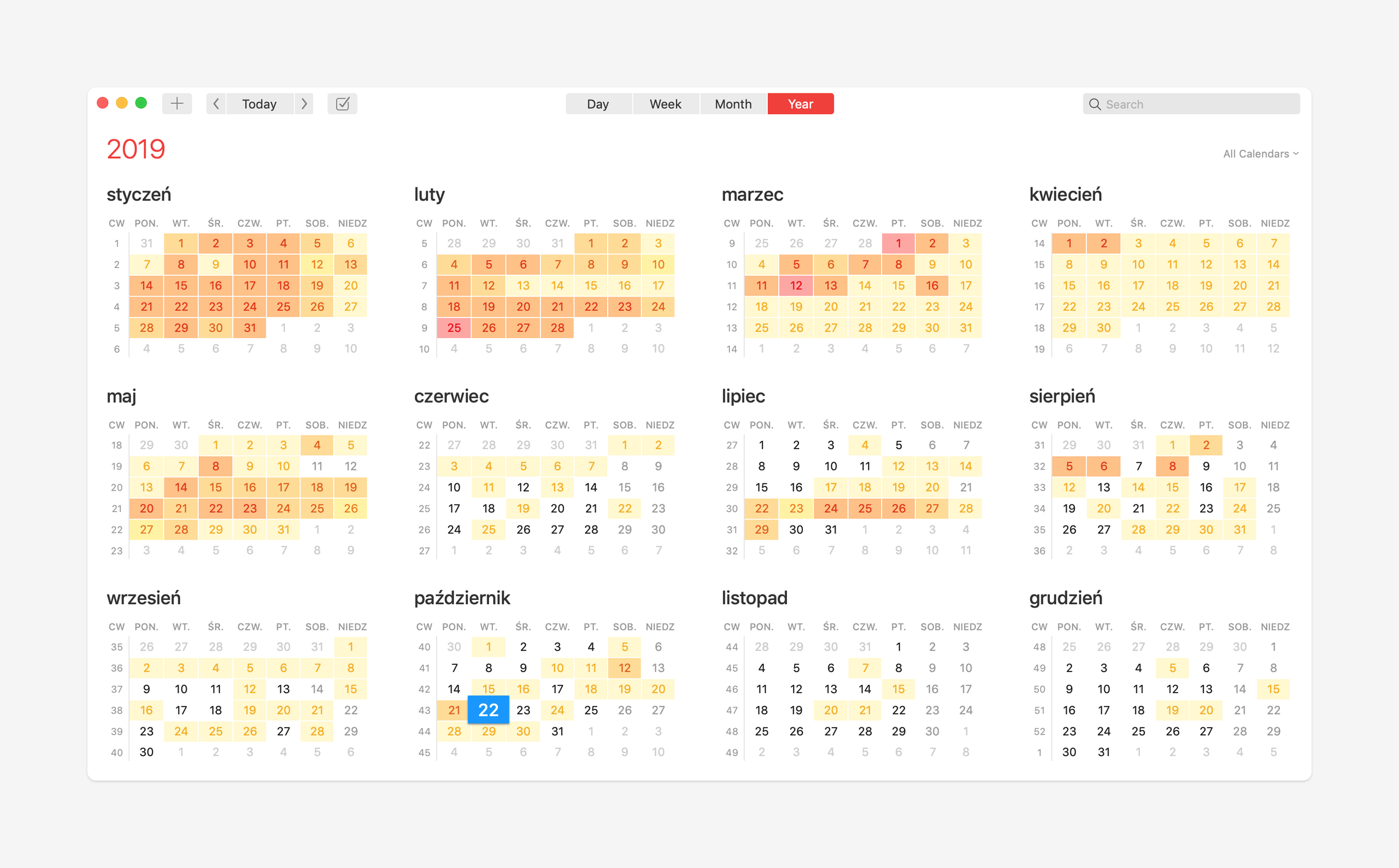 Fantastical Mac - widok roku