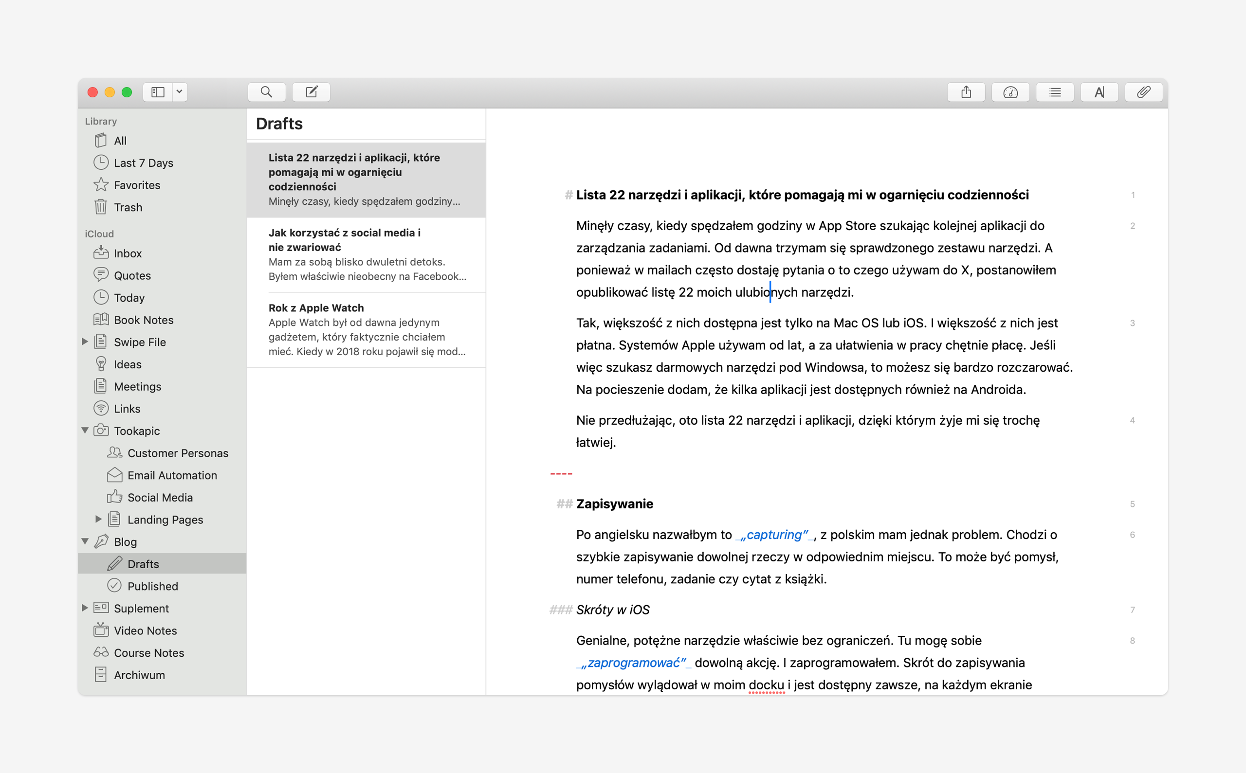 Ulysses na Mac - widok tekstu
