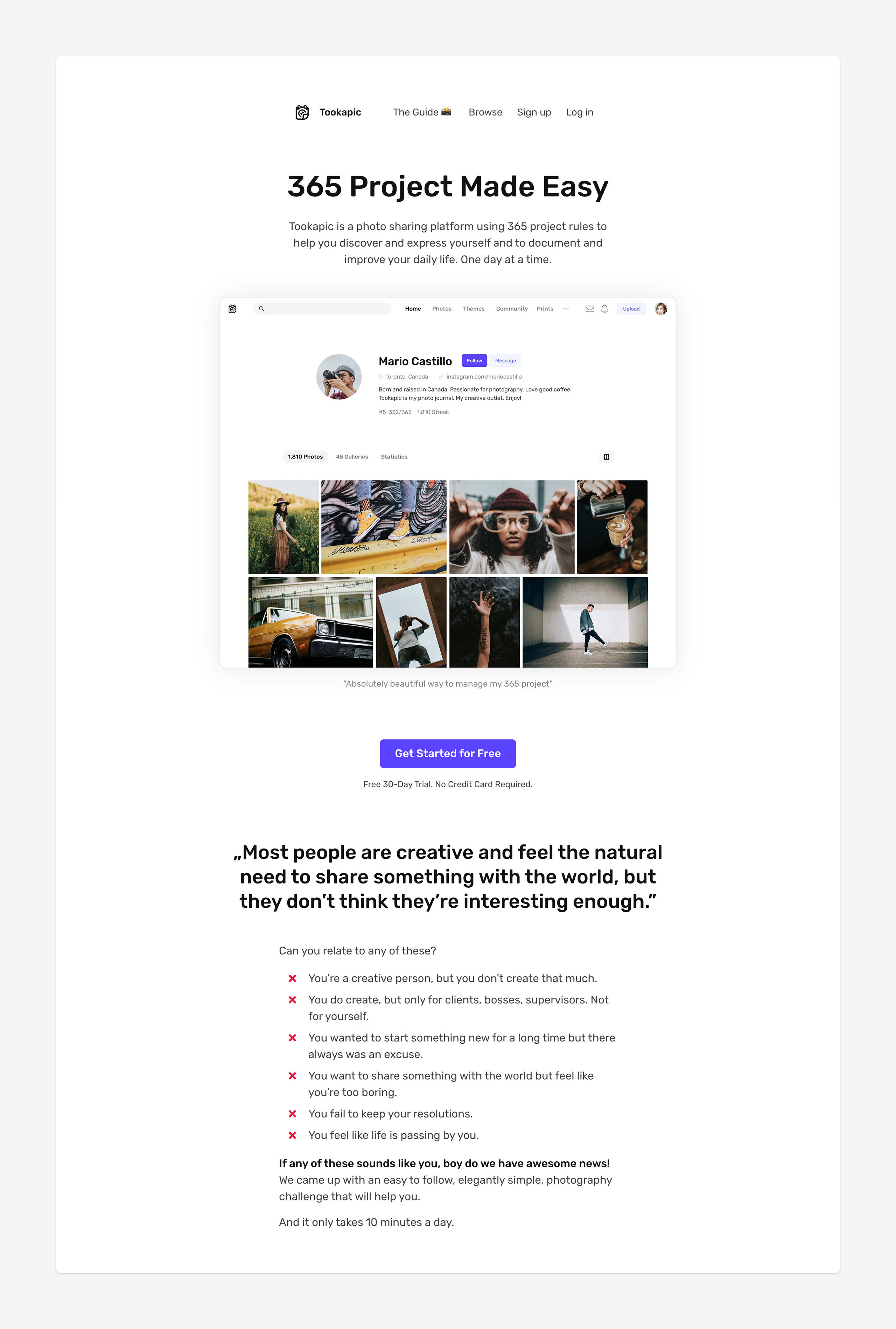 Nowy landing page Tookapic.