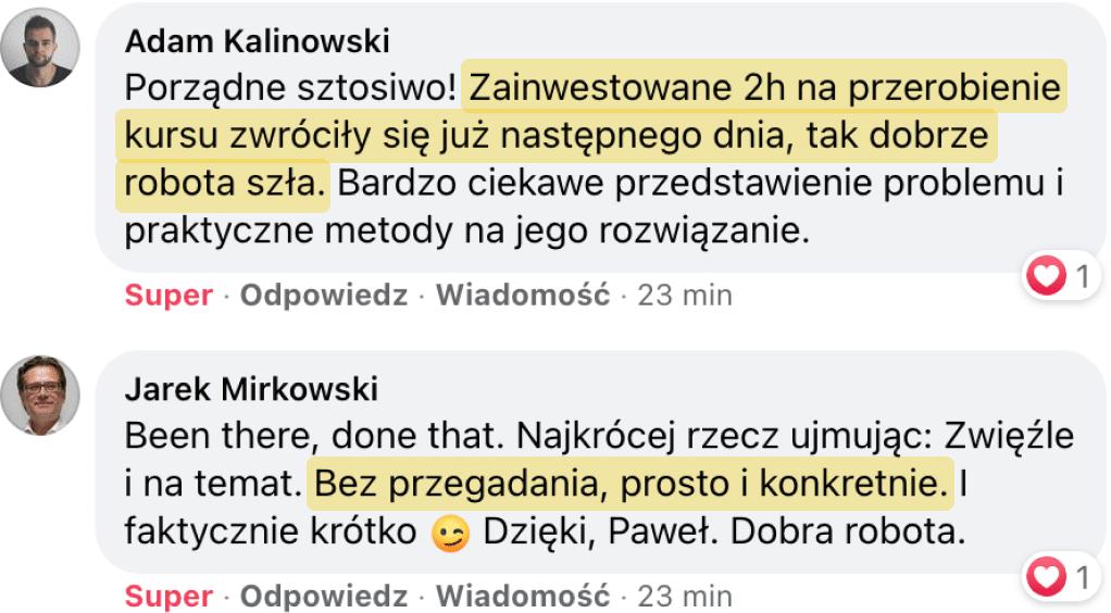 Opinie o kursie Paweł Kadysz
